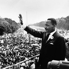 Martin Luther King Jr. addressing a crowd