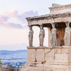 Erechtheion temple, a Greek temple with statues of woman as a series of columns