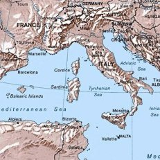 A map showing France, Italy and the Mediterranean Sea.