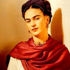 Artist Frida Kahlo, wearing a red scarf.