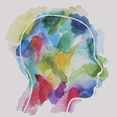 Abstract watercolor of a person's head.