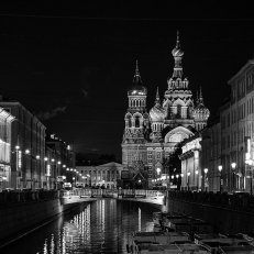 Black and white image of Saint Basil's Cathedral at night